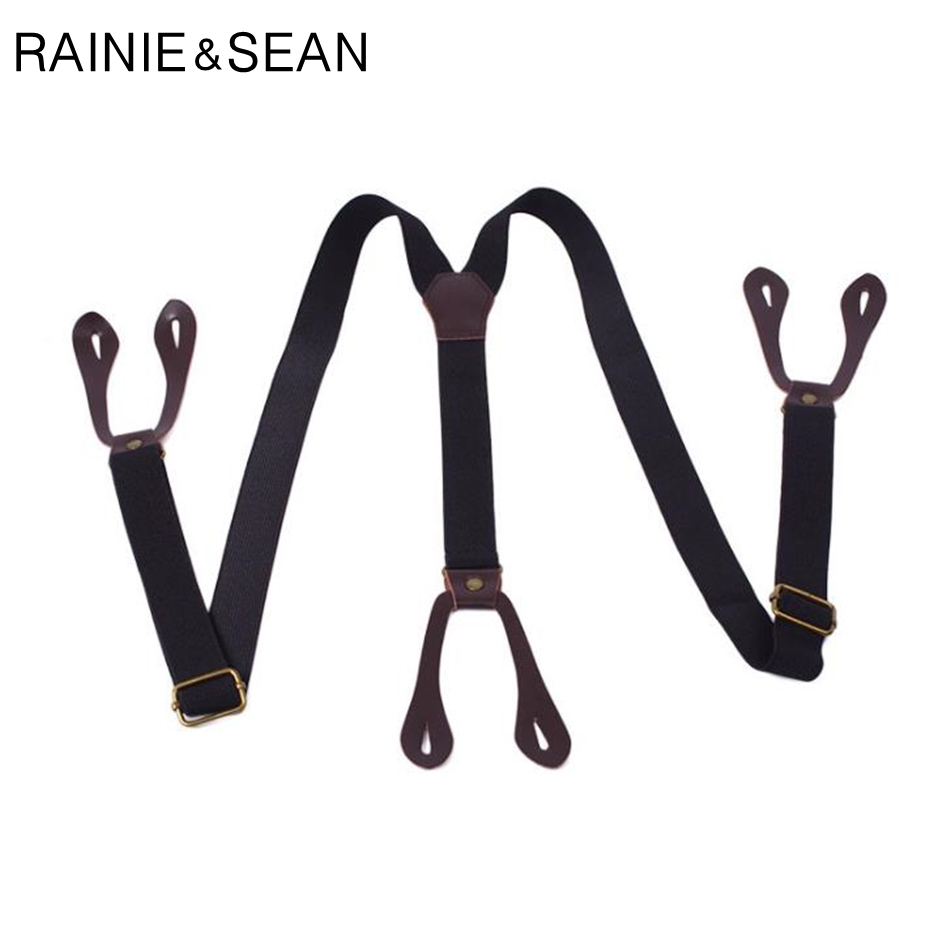 RAINIE SEAN Men Button Suspenders For Shirts Retro Black Y Back Braces Striped Adjustable Male Female Suspenders Trousers Strap