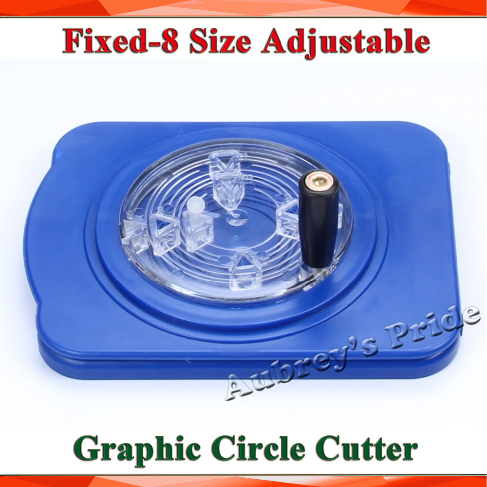 Multi-8 Sizes Adjustable Round Rotary Circle Graphic Paper Cutter Sharp Blade Die Board Button Maker