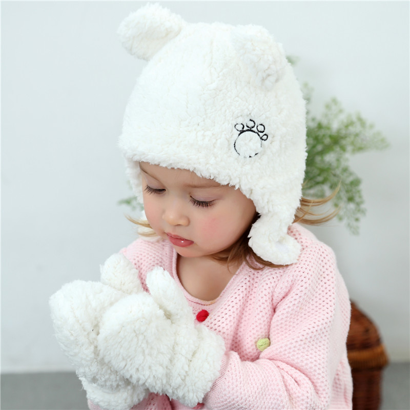 2pcs Super Cute Baby Winter Hat Mitten Set Warm Plush Infant Baby Beanie Cap  Newborn Bear Hat with Ear-in Hats   Caps from Mother   Kids on  Aliexpress.com ... 6469dbe894c
