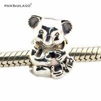 Leuke Koala Kralen 100% 925 Sterling Zilveren Sieraden Past Zilveren Charms Armband voor Vrouwen DIY Sieraden Groothandel