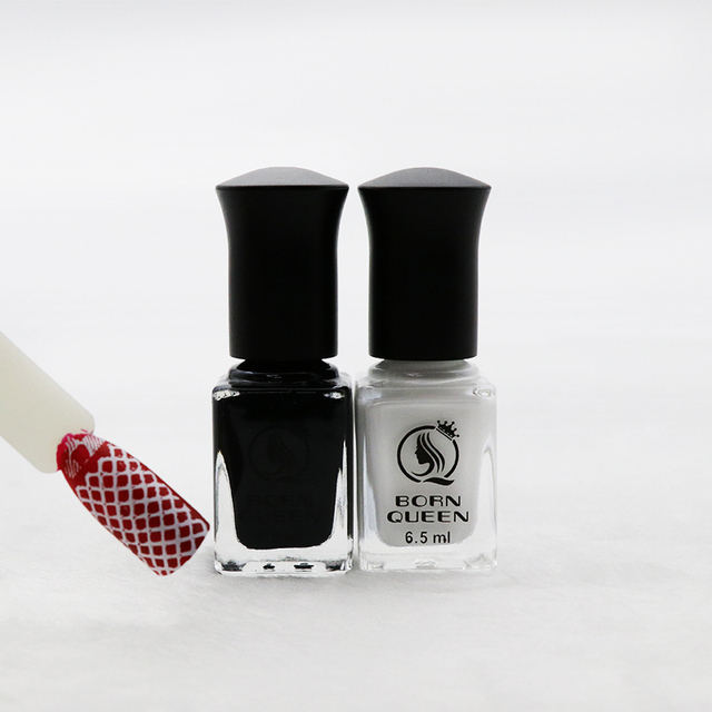 1 Bottle 6.5ml BORN QUEEN Black & White Nail Art Stamping Polish ...