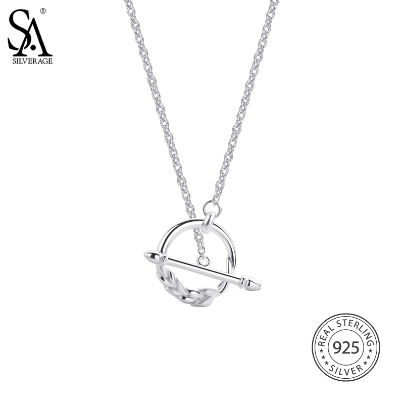 SA SILVERAGE 925 Sterling Silver Pendant Necklaces Wheat Circle Long Sweater Chian Fine Jewelry Women 2016