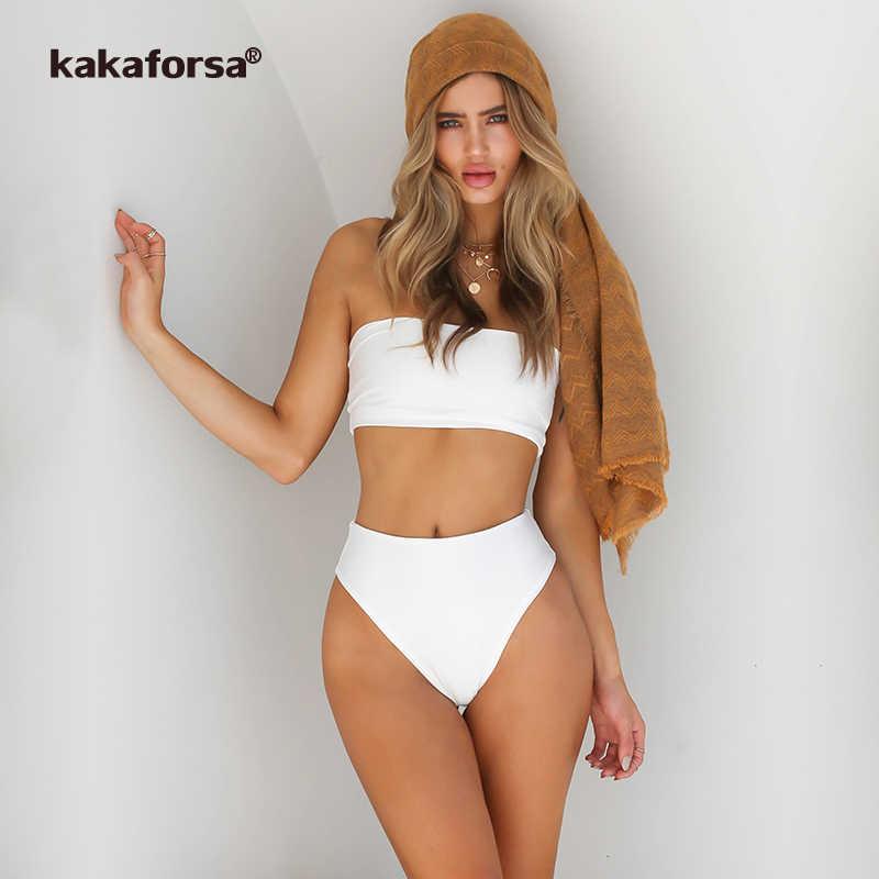Kakaforsa 2019 sexy bandeau Bikini Set wysokiej talii stroje kąpielowe kobiety Push Up kobiety stałe Bikini plaża kostiumy kąpielowe Maillot De Bain