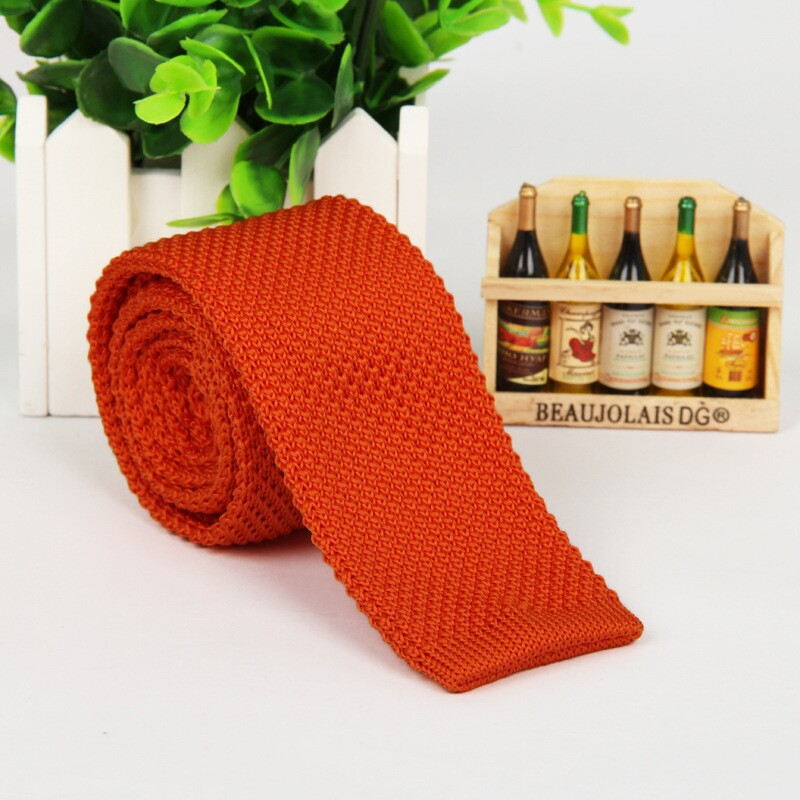 5.5 Cm Men Ties Orange Knitted Tie Cravatta Uomo Mens Fashion 2016  Lot