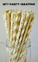 150pcs Pack Biodegradable Paper Straw for Birthdays, Weddings, Baby Showers, Celebrations and Parties, Gold, Silver