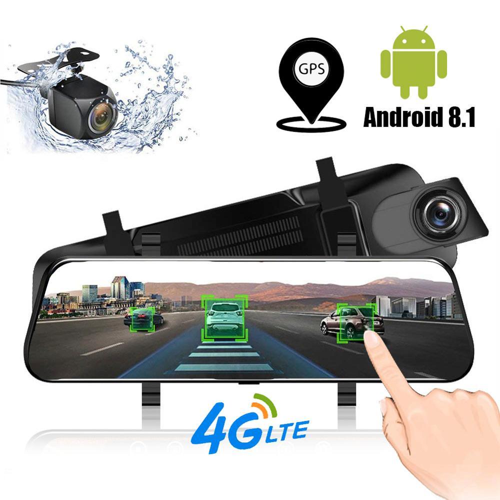 TAVIN Android 8.1 Rearview Mirror Dvr 4g Dash Cam ADAS GPS Car Dvrs Full HD 1080P 10 Inch Touch Screen Dual Lens Video Recorder