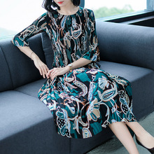 Miyake  Female Spring Garment 2019 New Euro-American Style Chiffon Printing Dress Slender and Wrinkled DRESS free shipping