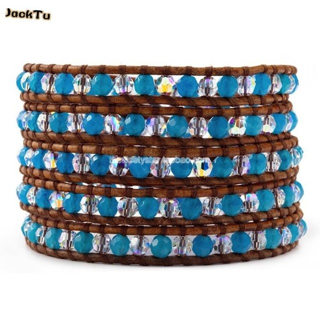 September - Blue Stone Wrap Bracelet on Natural Brown Leather