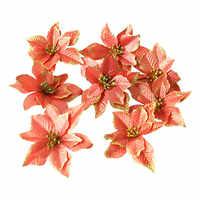 8 Uds. Flores artificiales adornos navideños para el hogar tres capas doradas rosas árbol de Navidad adornos de flores decoración de Navidad