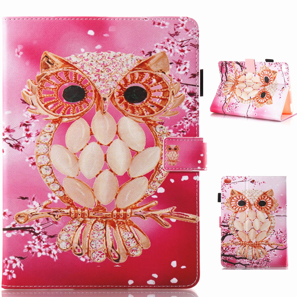 Pink Owl Pattern PU Leather Full Body Case with Stand for iPad Air 1 2 iPad