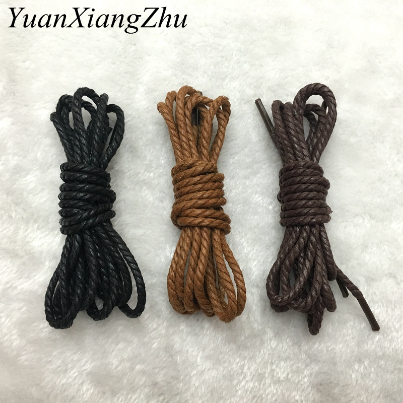 1pair High Quality Lace Waterproof Shoelace Leather Round Skinny Martin Boots Leather Shoes Shoelace Yellow Brown Black 120CM