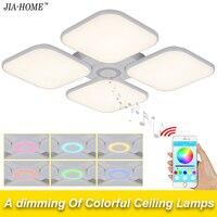 Площади потолка света холодный белый теплый белый 72 Вт для гостиной с Bluetooth Управление абажур купол акриловые светодиодные светильники