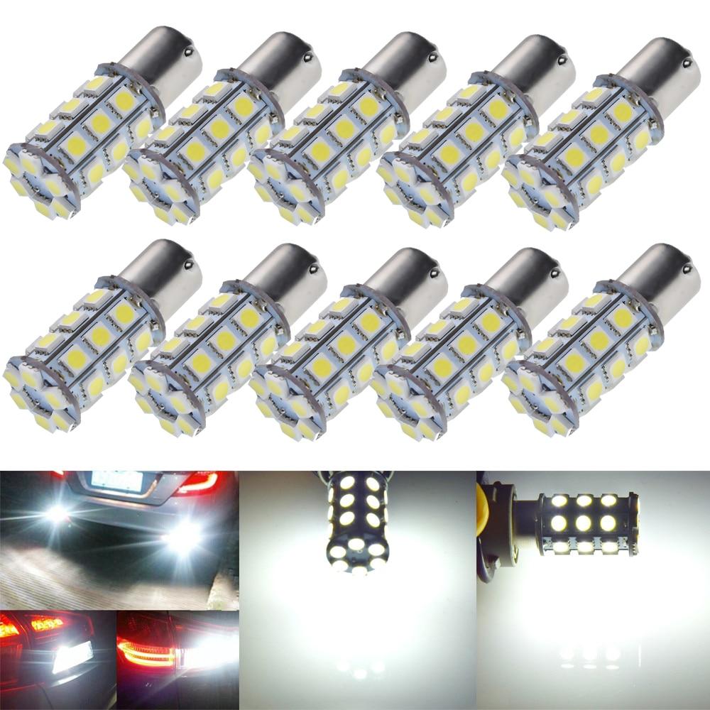 Luces LED de coche P21W BA15S 1156 7506 S25 1157 BAY15D P21/5W, bombilla de luz de retroceso de marcha atrás de coche, 10 piezas, 27 SMD 5050 blanco 24V