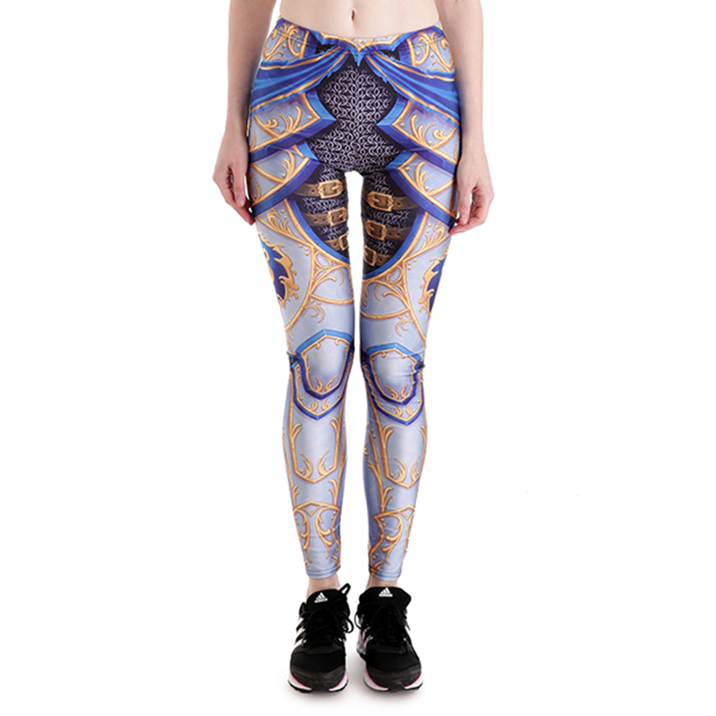 New 3849 Sexy Girl Slim Ninth Pants WOW Alliance Logo Lion Armour Cospaly Printed Stretch Fitness Women   Leggings   Plus Size