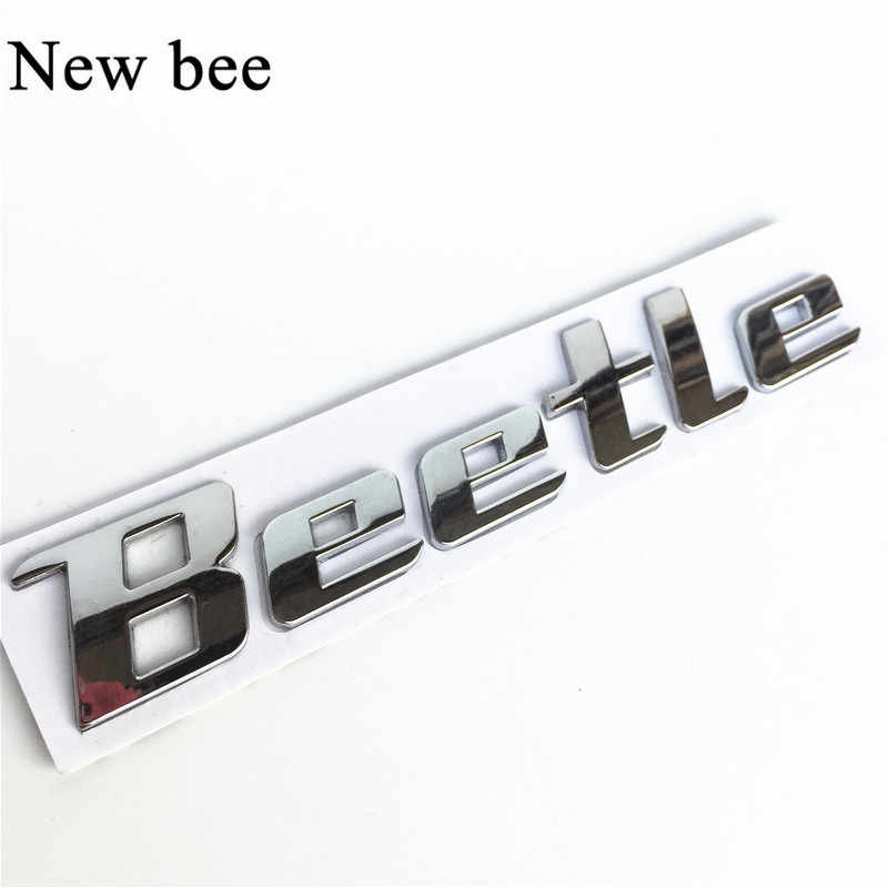 Newbee 3D Chrome Metal Sticker Beetle Emblem Badge Logo Decal For Volkswagen VW Beetle TDI TSI Rear Trunk Car Styling Decoration