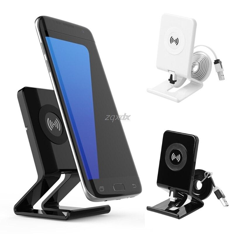 QI Standard Sans Fil Chargeur Pour Samsung S8 S8 Plus S7 S7 Bord S6 Bord NOTE 5 Stand Style 5 V 1A Sortie Téléphone Chargeur Adaptateur