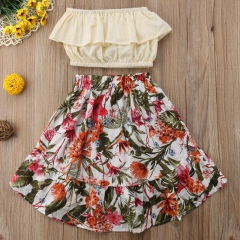 1 7Y Girls Clothing Sets 2PCS Sleeve Shoulder Off Top Floral dress Baby Clothes Dress in Dresses from Mother Kids