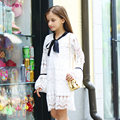 2016 Autumn Fall Latest Girls Dress White Cotto Crochet Dress Birthday Party School Girl Age 56789 10 11 12 13 14T Years Old