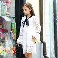 2016 la Caída Del Otoño Últimas Muchachas Vestido Blanco Cotto Crochet Vestido de Cumpleaños de La Escuela del partido Chica Edad 56789 10 11 12 13 14 T Años de edad