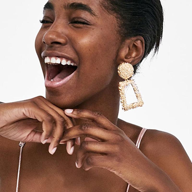 Bestessy Large Geometric Pendant Earrings Charm Women Fashion Big Metal Drop Earrings Silver Gold Color Dangle