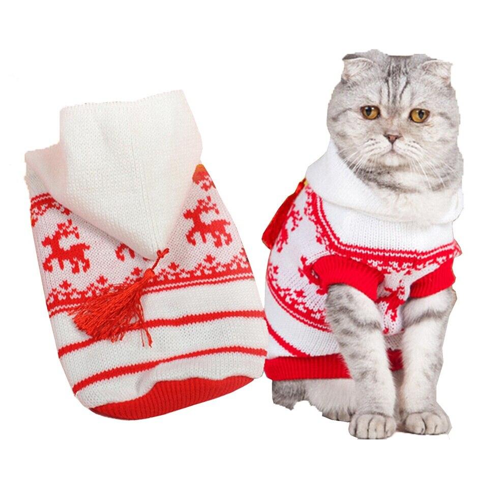 Осень зима толстовки маленькая кошка свитер кошка животных перемычки рождество олень кошка пальто одежда x'mas собака перемычка для маленьких собак кошка