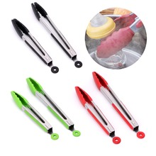 Silicone Kitchen Cooking Salad Serving BBQ Tongs Stainless Steel Handle Utensil Kitchen Tools