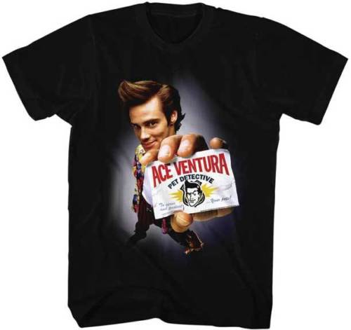 Ace Ventura Pet Detective Holding Business Card Adult T Shirt Funny Movie