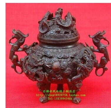 Ouverture perspective Kowloon cuivre four bois de santal encens encens fumée encens bobine cuivre ornements Dragons