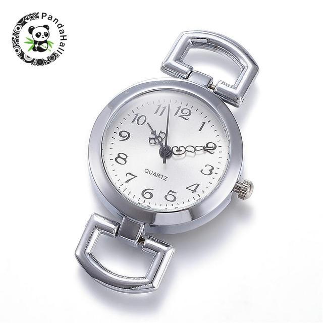10 pcs שטוח עגול סגסוגת שעון ראש רכיבים, פלטינה, גודל: כ 29mm רחב, 49mm ארוך, 9mm עבה, חור: 10x5.5mm.