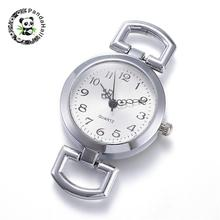 10 pcs Platte Ronde Legering Horloge Hoofd Componenten, Platina, Maat: ongeveer 29mm breed, 49mm lang, 9mm dik, gat: 10x5.5mm.