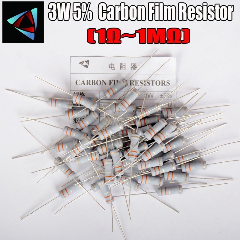 10pcs 3W Carbon Film Resistor 5% 1R ~ 1M 1R 4.7R 10R 22R 33R 47R 1K 4.7K 10K 100K 10 22 33 47 4K7 Ohm Metal Oxide Film Resistor