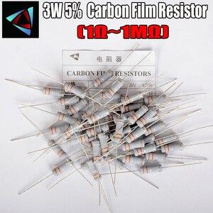 10pcs 3W Carbon Film Resistor 5% 1R ~ 1M 1R 4.7R 10R 22R 33R 47R 1K 4.7K 10K 100K 10 22 33 47 4K7 ohm Metal oxide film Resistor(China)
