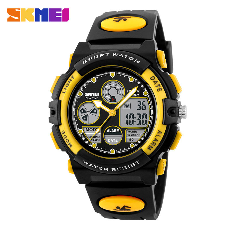 50m Waterproof Childrens Watch Child Sports Swim Watches Kid Electronic Alarm Clock Quartz Movement Double Display Wristwatch G Children's Watches