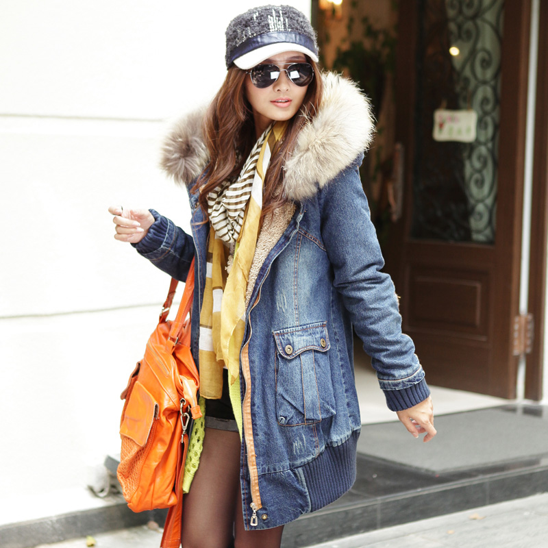 2014 new women's winter genuine raccoon fur collar and long thick velvet padded denim jacket plus size free shipping H1798