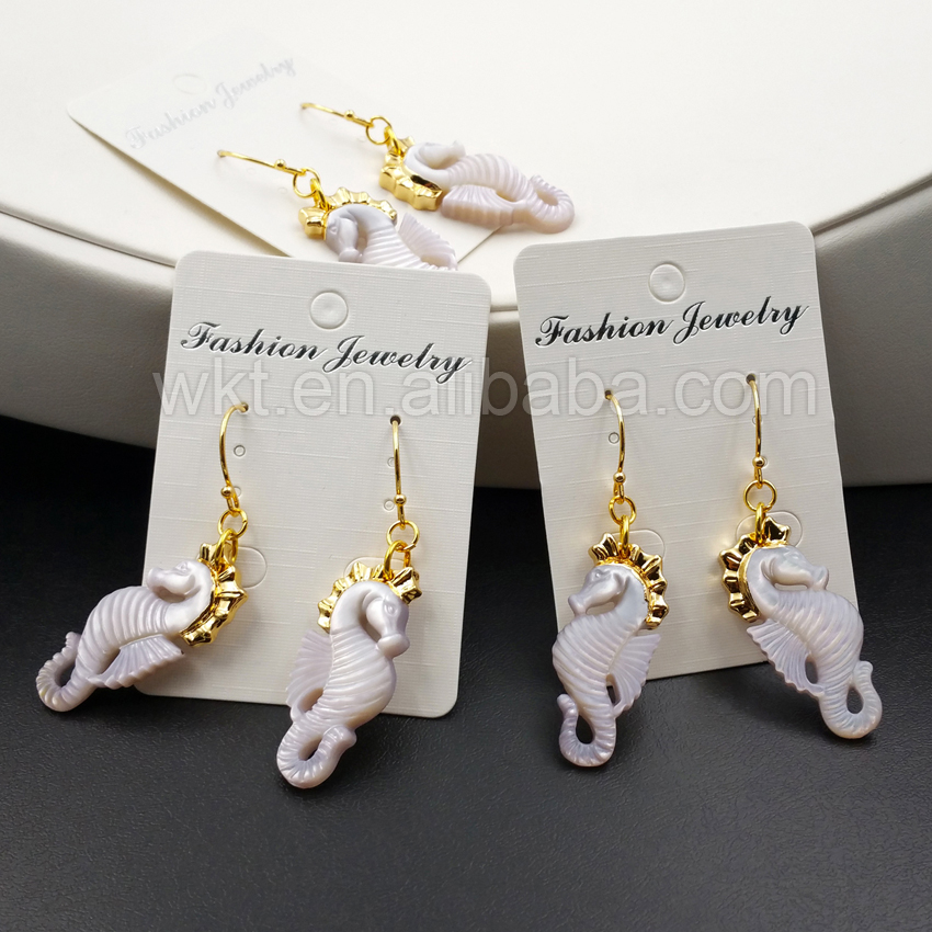 WT E311 Wholesale High Quality Sea Horse Earrings Unique Design Shell With 24K Gold Color Hippocampe