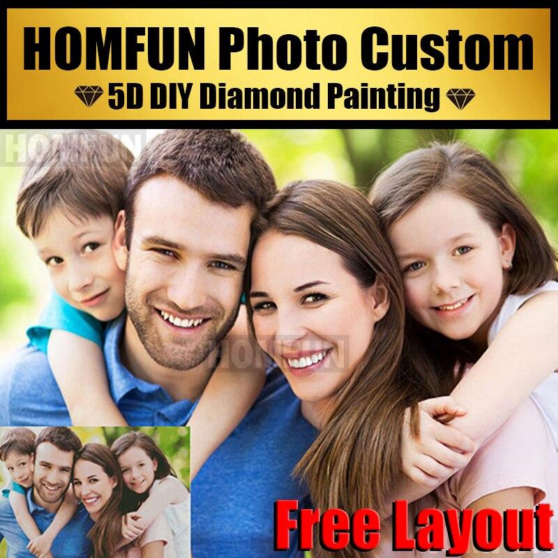 HOMFUN 5D DIY Алмазная картина на заказ, индивидуальная фотография на заказ, индивидуальная алмазная живопись, алмазные стразы, вышивка