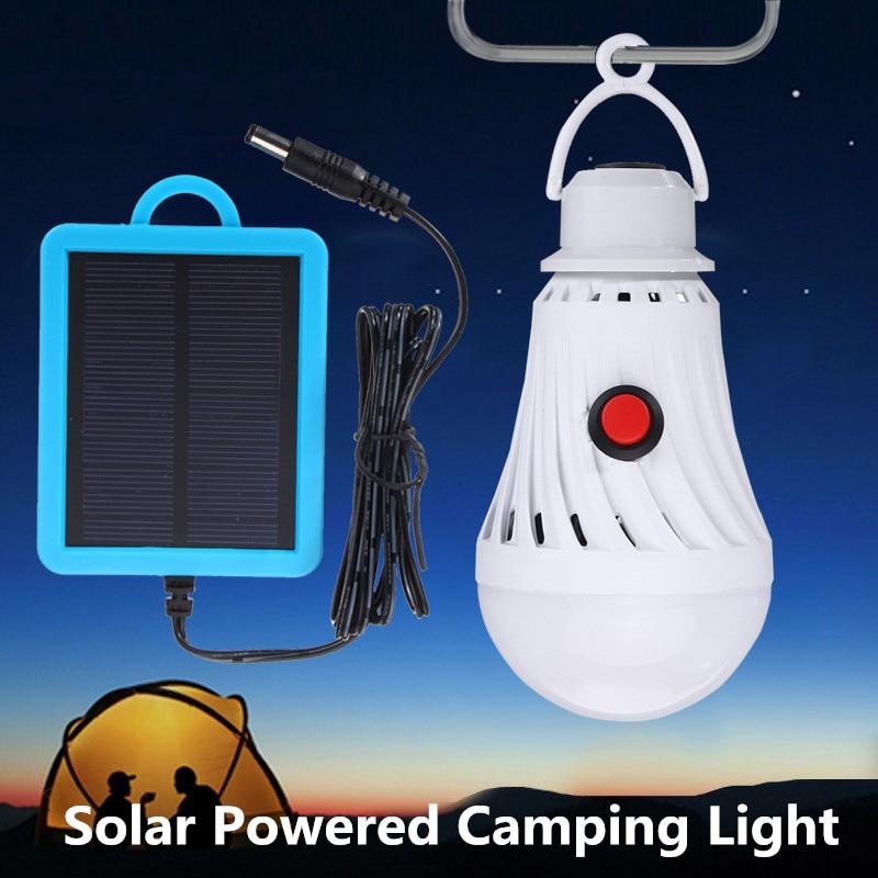 5W Portable Solar Powered LED Solar Lights Led Bulb Hanging Led Outdoor Camping Yard Lamp Panel Tent Fishing Lighting