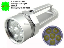 Alonefire DV800 diving torch 6 x Cree XM-L2 U2 Stepless Dimming 5800Lumens Diving Flashlight Torch 4 x 18650 flashlight
