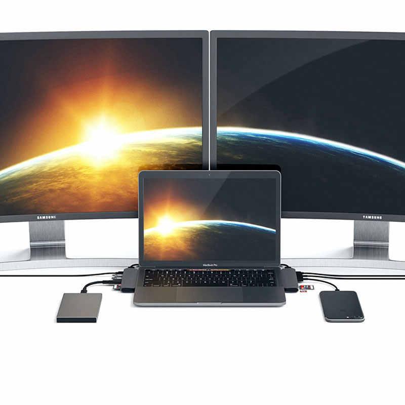 Concentrateur USB 3.1 type-c compatible avec adaptateur HDMI 4K Thunderbolt 3 USB C Hub avec moyeu 3.0 TF SD lecteur emplacement PD pour MacBook Pro/Air 2019