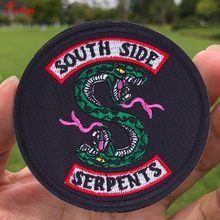Pulaqi Snake Riverdale Applique Patches for Clothing South Side Embroidery Sew Iron-on For Jeans T-Shirt Garment Accessories H(China)
