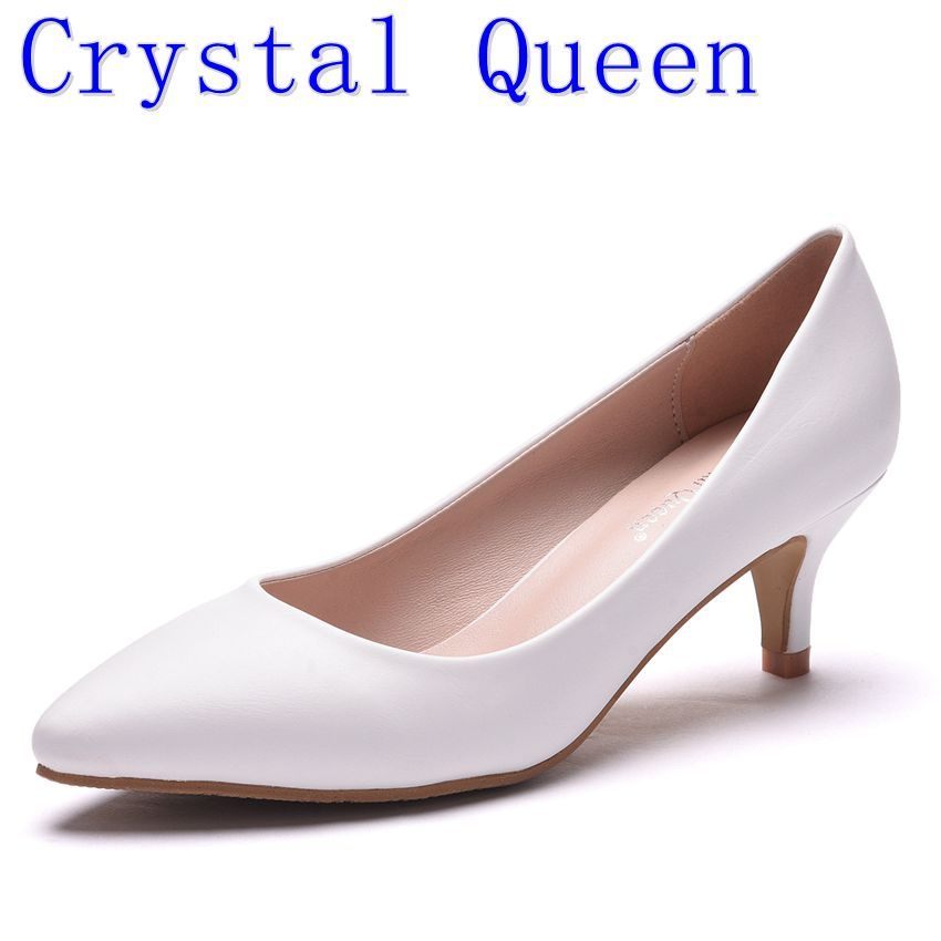 Crystal Queen Women's 5cm High Heels Pumps Office Lady Women Shoes Sexy Bride Party Thin Heel Pointed Toe PU High Heel Shoes women high heels shoes sexy pumps nightclub shallow thin heel 10 5cm 8 5cm women s glitter leather pump silver wedding shoes