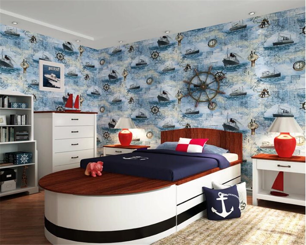 beibehang papel de parede Mediterranean Fashion Style Nonwovens 3d Wallpaper Kids Room Bedroom Sailing Background Wall tapety beibehang nonwovens healthy fashion