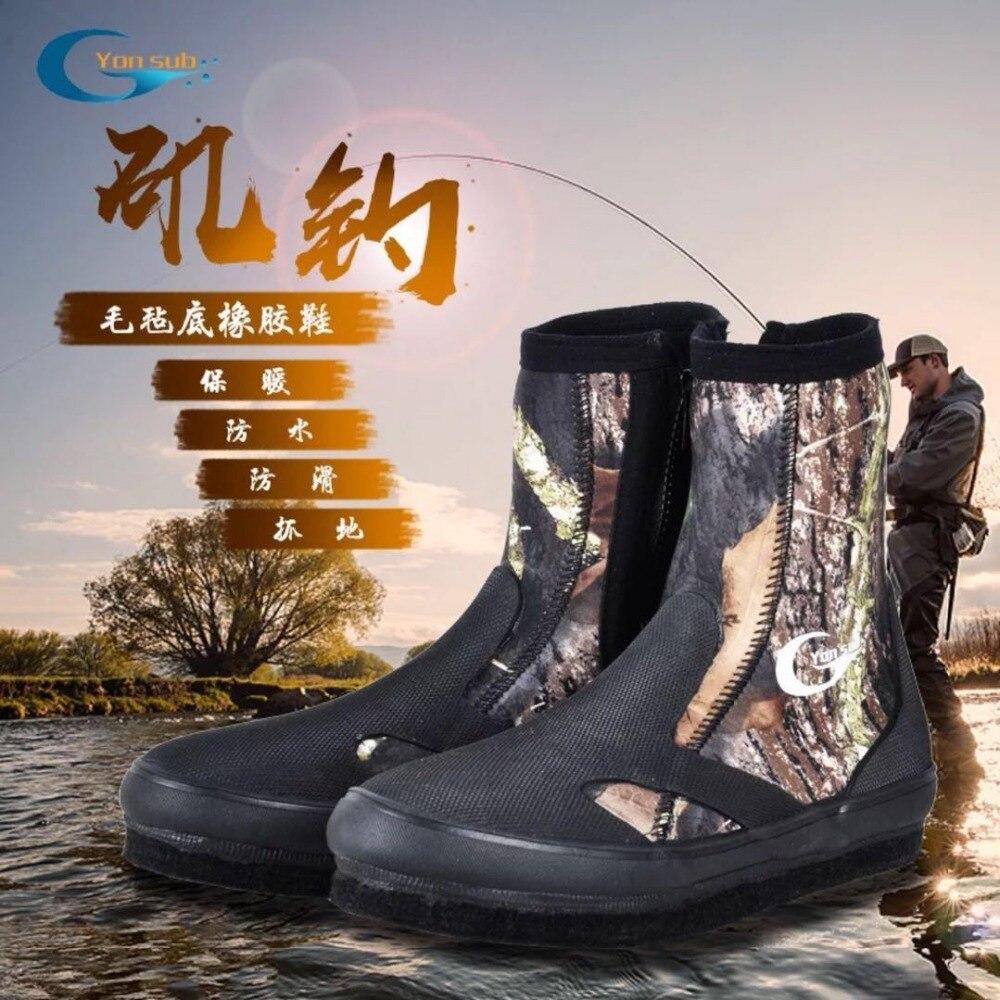 Bottes de plongée en néoprène 5 MM chaussures en amont résistantes à l'usure chaussures de pêche antidérapantes Camouflage garder au chaud chaussures de sport nautique livraison gratuite