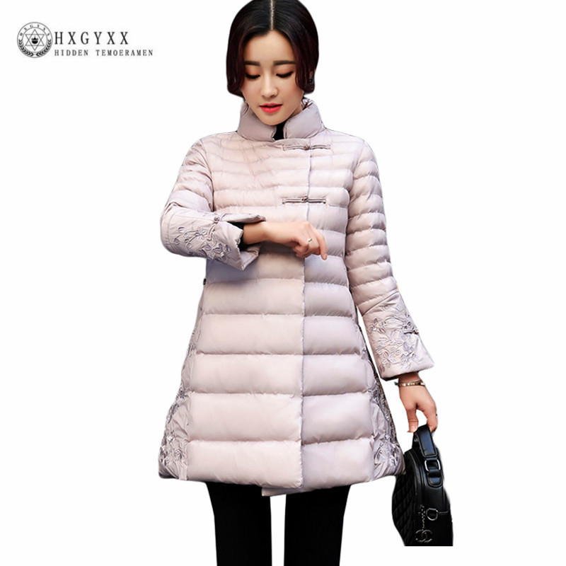New Stand Collar Slim Warm Winter Jacket Woman 2017 Chinese Style Lace Pattern Down Cotton Coat Plus Size Female Parka Okb397 short style parka winter cotton down jacket for men korean big size l 4xl slim fit stand collar man casual coat homme grey e374