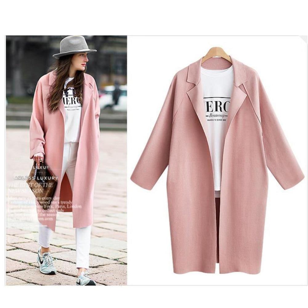 Women Solid Color Coat Ladys Long Section Turn-collar Windbreaker Coat Plus Size Cocoon Type Long Sleeves Warm Coat for Women