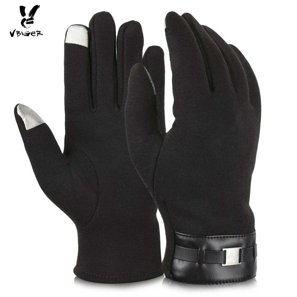 Vbiger Men Gloves Full-Finger Touch Screen Gloves Velvet Lining Thick Winter Warm Wear Outdoor Sports Driving Gloves Mitten