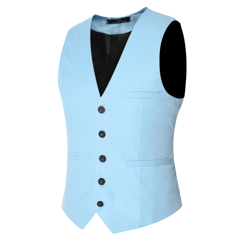 MarKyi plus size 6xl fashion slim fit sleeveless mens wedding waistcoats 9 colors solid waistcoat men dress vests