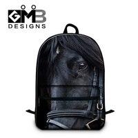 Dispalang Black Horse Men S Backpacks College Student Zoo Animal Laptop Knapsack Custom Schoolbag Casual Laptop