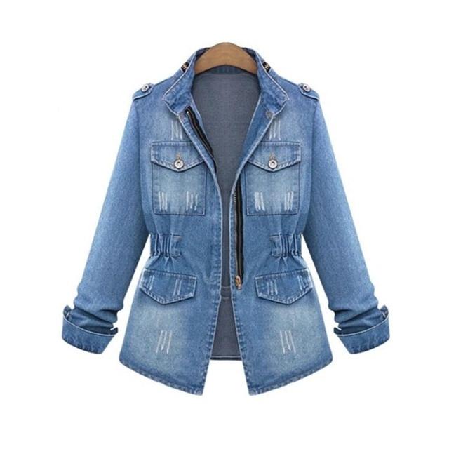 Plus size S-5XL blue denim jacket women loose tight waist winter pocket zipper fashion elegant over size coats jackets cowboy