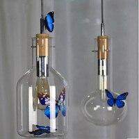 pendant lighting glass shades cord pendant lamp Test tube Beaker Wood Cork Clear Glass Bottle hanging lamps for dining room